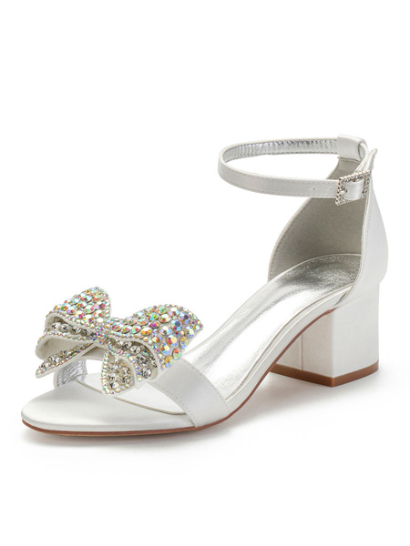 Milanoo White Wedding Shoes Satin Open Toe Rhinestones Bows Chunky Heel Bridal Shoes