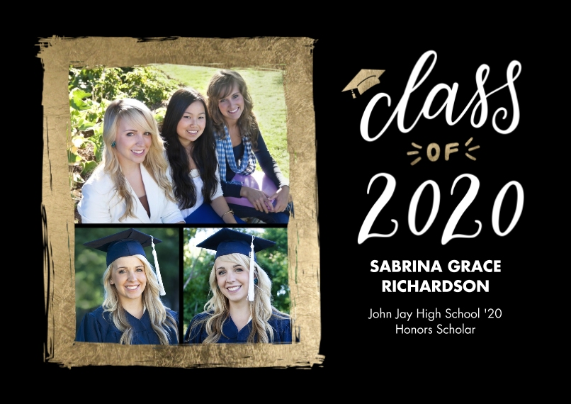 2020 Graduation Announcements 5x7 Cards, Premium Cardstock 120lb with Scalloped Corners, Card & Stationery -2020 Grad Painted Gold Border by Tumbalina