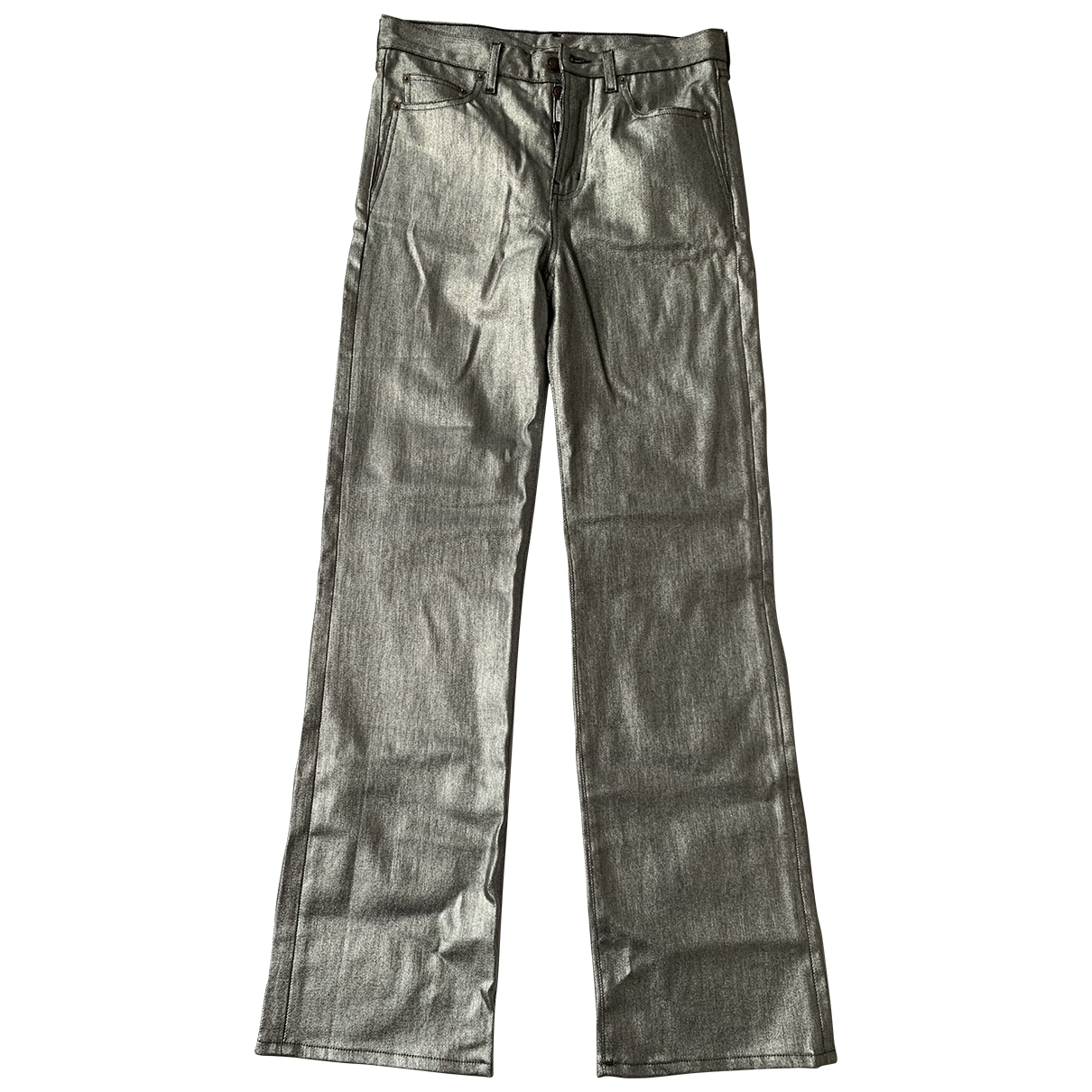 Saint Laurent \N Hose in  Silber Baumwolle