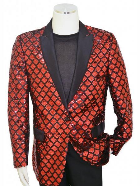 Pronti Diamond Designed Peak Lapel Black ~ Red Blazer