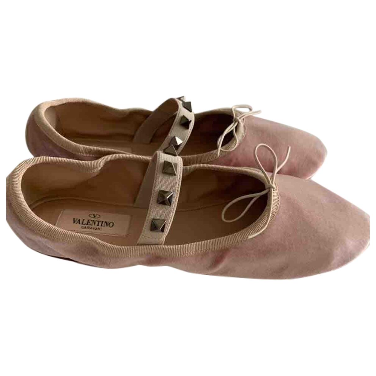 Valentino Garavani Rockstud Pink Velvet Ballet flats for Women 38 EU