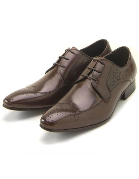 Mens Classic wingtip style brown leather zota shoes