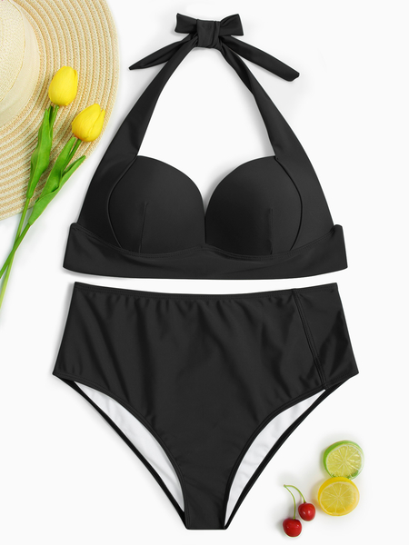 Yoins Black Halter V-neck Padded Design High-waist Bikini Set