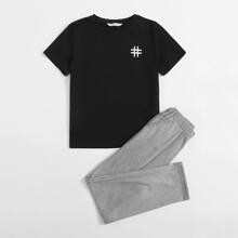 Schlafanzug Set mit geometrischem Muster und schraegen Taschen