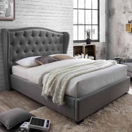 Festa Collection 2993-F-GY Full Size Platform Bed with Wingback Headboard  Fabric Upholstery  Button Tufting  Block Feet  Polyester Blend Material