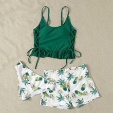 3 Packe Bikini Badeanzug mit Ananas Muster, Rueschen und Band