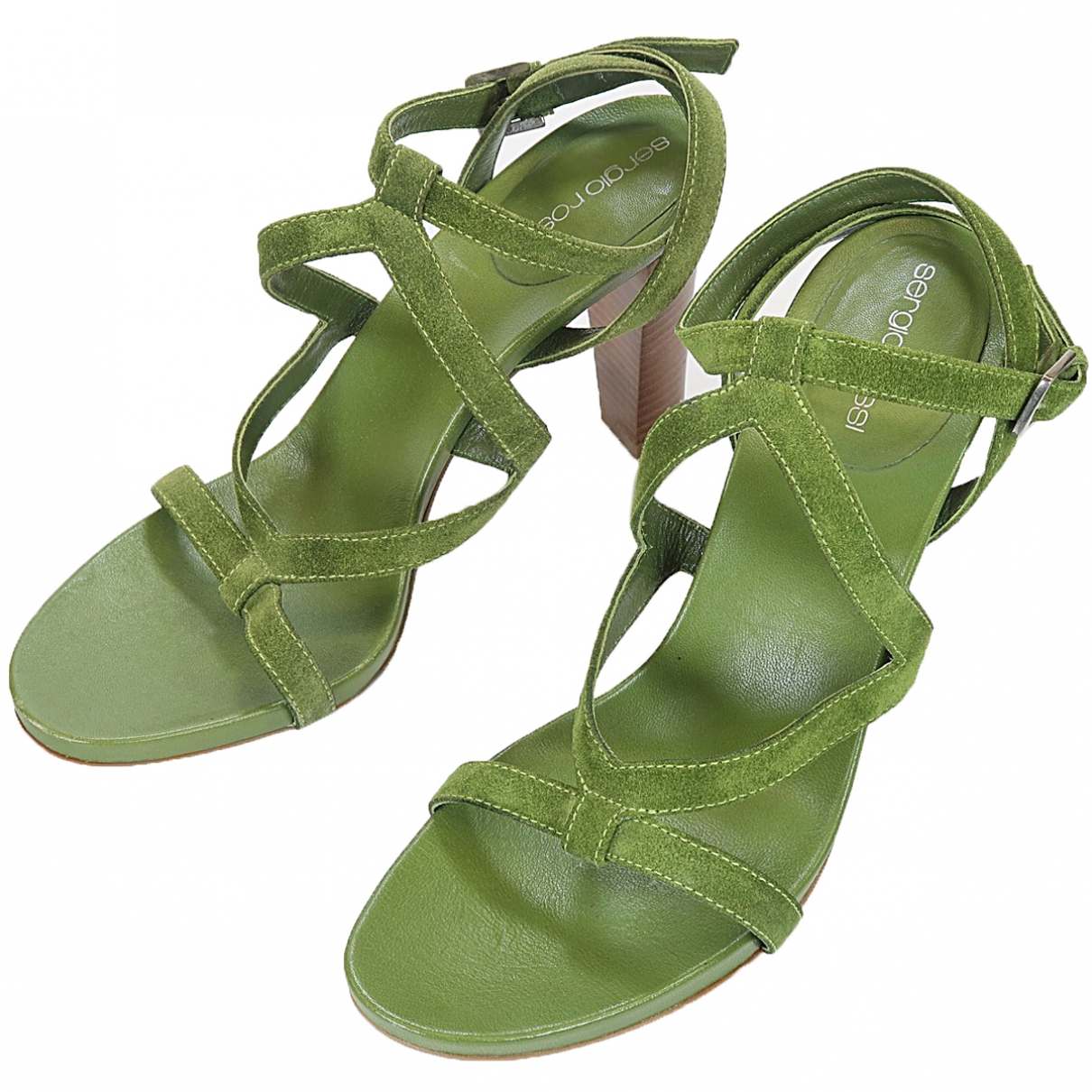 Sergio Rossi \N Green Suede Sandals for Women 40 EU