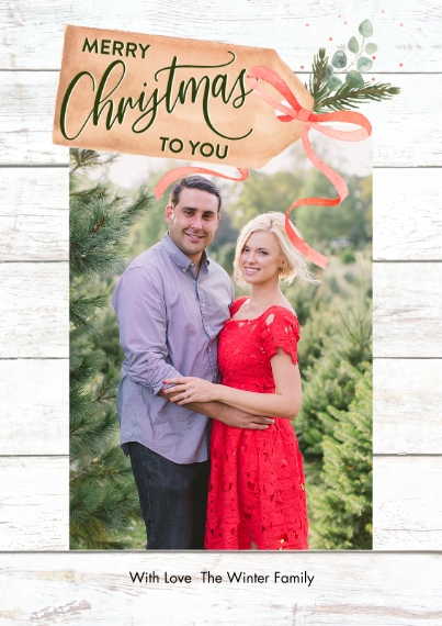 Christmas Photo Cards 5x7 Cards, Premium Cardstock 120lb with Rounded Corners, Card & Stationery -Christmas Rustic Tag by Tumbalina