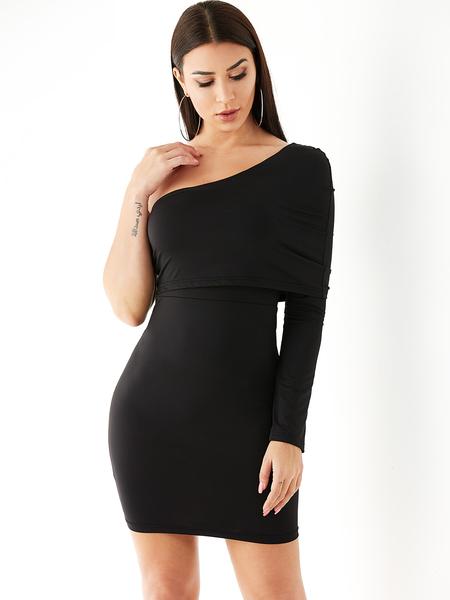 YOINS Black One Shoulder Backless Bodycon Dress