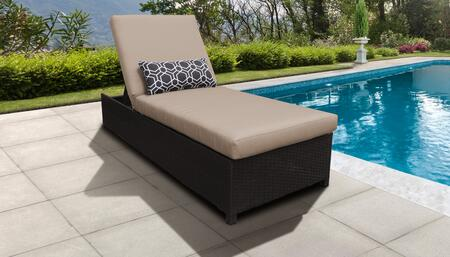 Barbados Collection BARBADOS-W-1x-WHEAT Wicker Patio Chaise with Wheels - 2 Sets of Wheat
