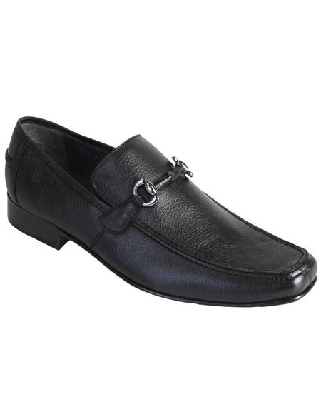 Men's Slip On Loafer Black Full Deer Skin Los Altos Dress Shoes