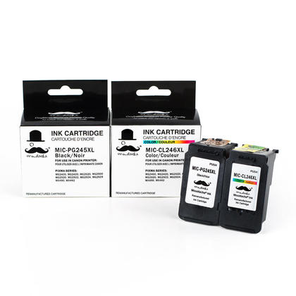 Compatible Canon PIXMA MG2420 cartouches encre noire et couleur de Moustache, ensemble de 2 paquet - haut rendement
