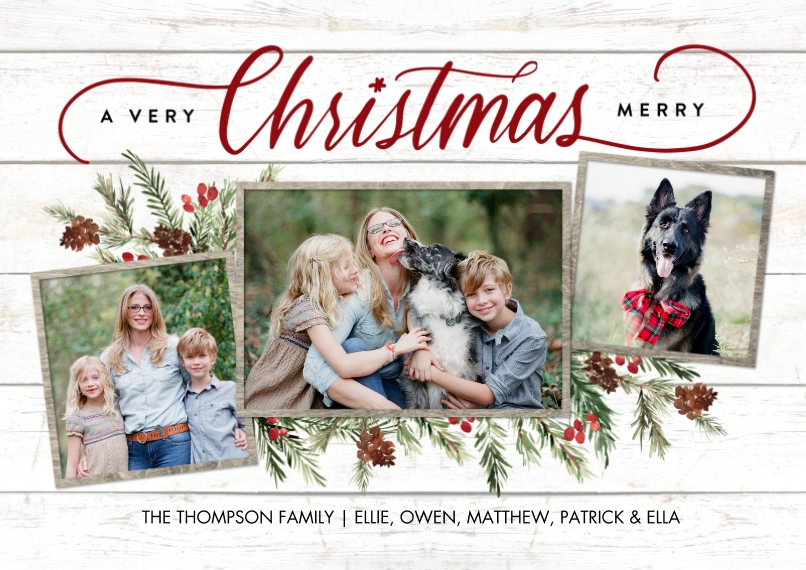 Christmas Photo Cards Flat Matte Photo Paper Cards with Envelopes, 5x7, Card & Stationery -Christmas Script Foliage Memories by Tumbalina