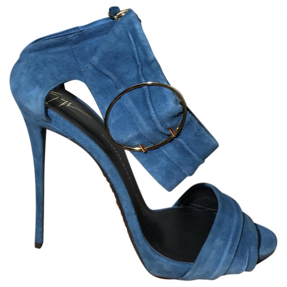 Giuseppe Zanotti - Sandales   pour femme en suede - bleu