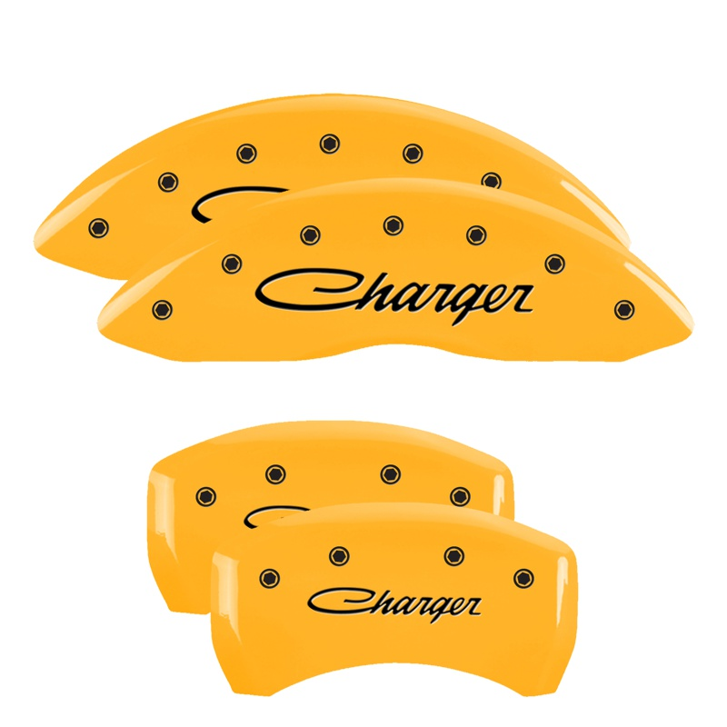 MGP Caliper Covers 12162SCHSYL Set of 4: Yellow finish, Black Charger / Charger (Cursive) Dodge 2011-2019