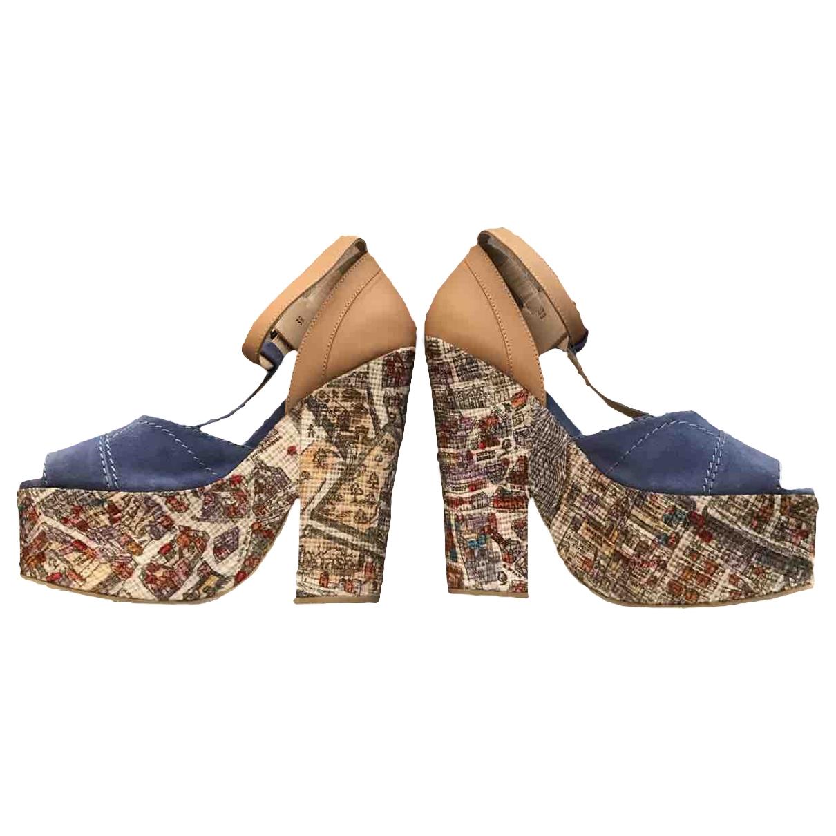 Carven - Sandales   pour femme en toile - bleu