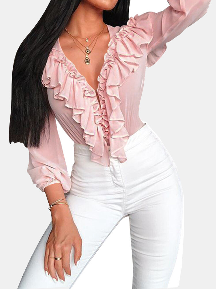 Solid Color Flounces Long Sleeve Casual Blouse For Women