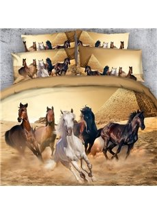 Running Horses and the Pyramid Printed 3D 4-Piece Bedding Sets/Duvet Covers Colorfast Wear-resistant Endurable