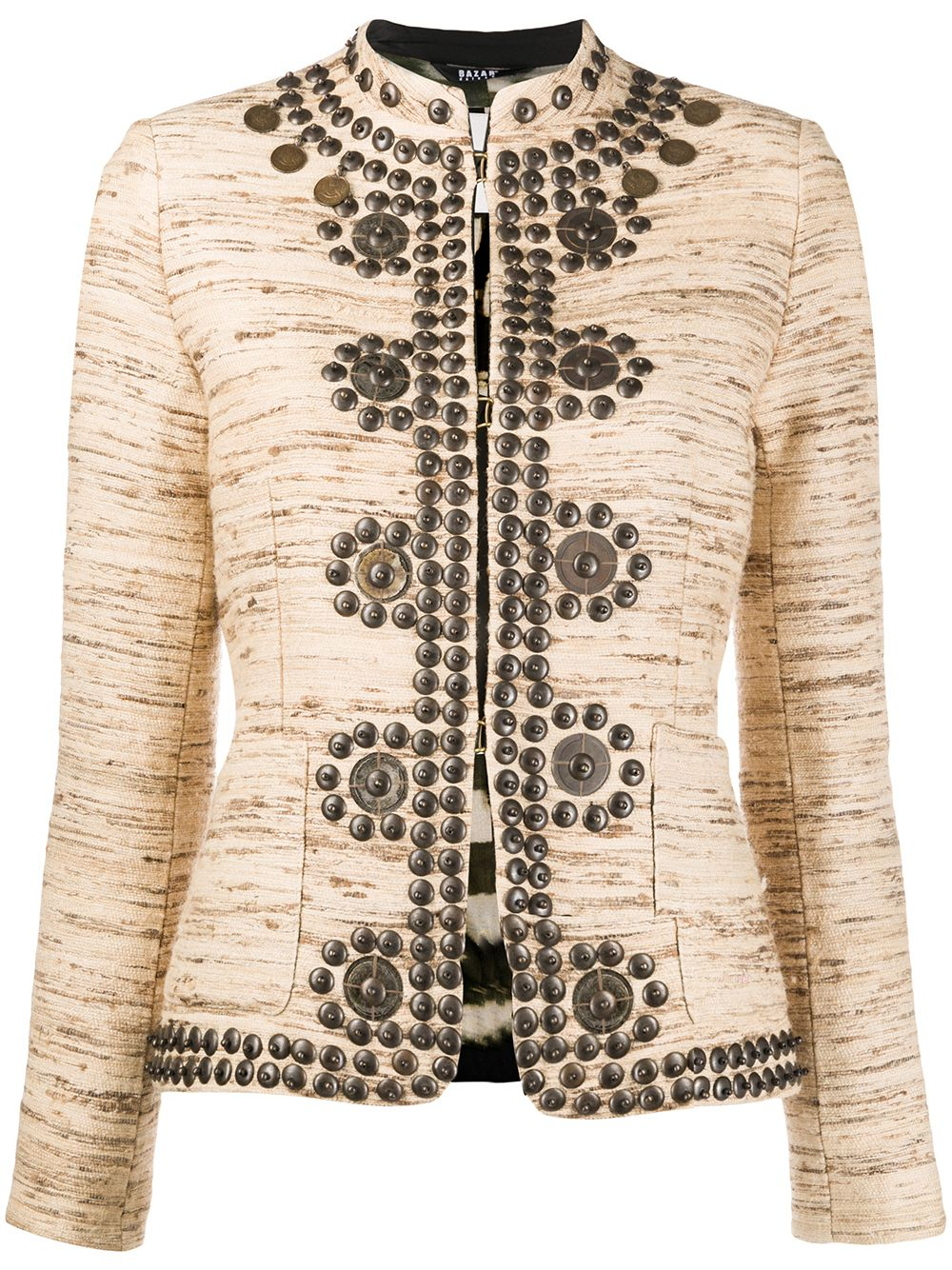 Cotton And Silk Jacquard Embellished Jacket