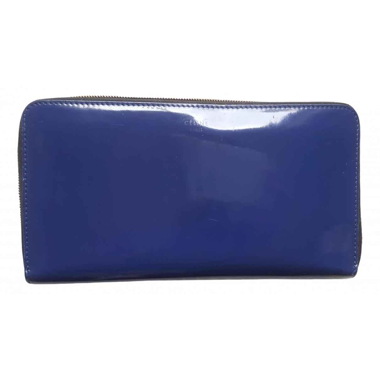 Celine - Portefeuille   pour femme en cuir verni - bleu