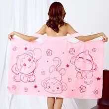 1pc Monkey Print Wearable Bath Towel
