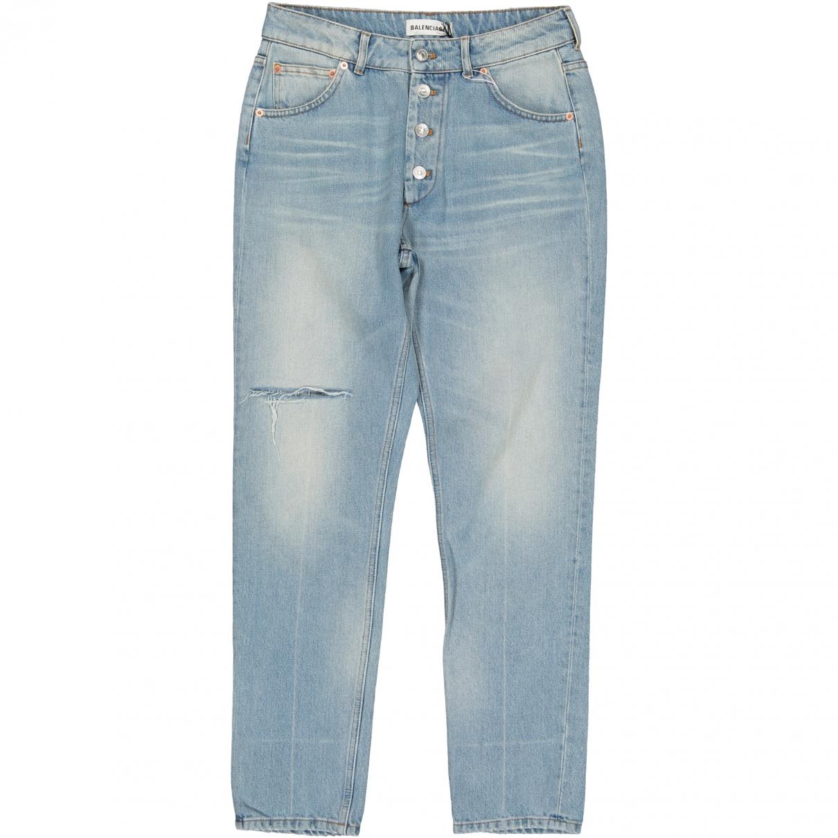 Balenciaga - Jean   pour femme en coton - bleu