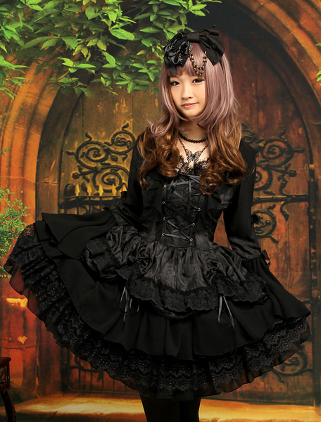 Milanoo Gothic Black Lolita One Piece Dress Long Hime Sleeves Lace Up Layers Lace Trim