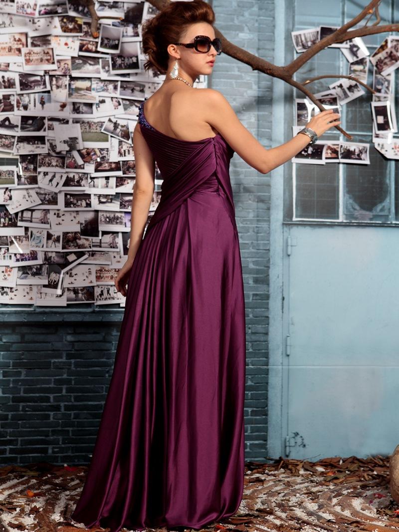Ericdress One Shoulder Beading Draped Evening Dress