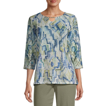 Alfred Dunner Palo Alto-Womens Keyhole Neck 3/4 Sleeve T-Shirt, Petite Large , Blue