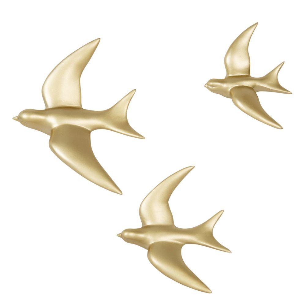 Wanddeko 3 Vogel aus goldfarbenem Metall