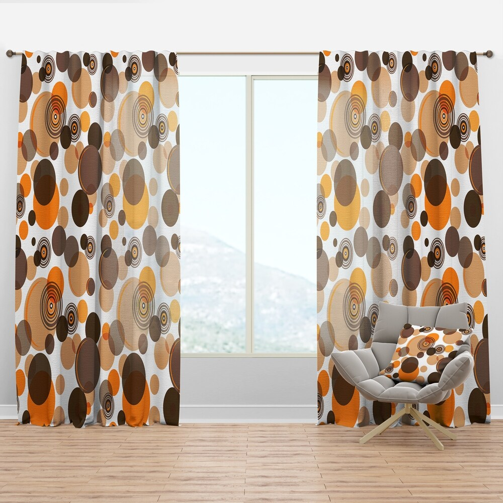 Designart 'Orange and brown retro circles' Mid-Century Modern Curtain Panel (50 in. wide x 90 in. high - 1 Panel)