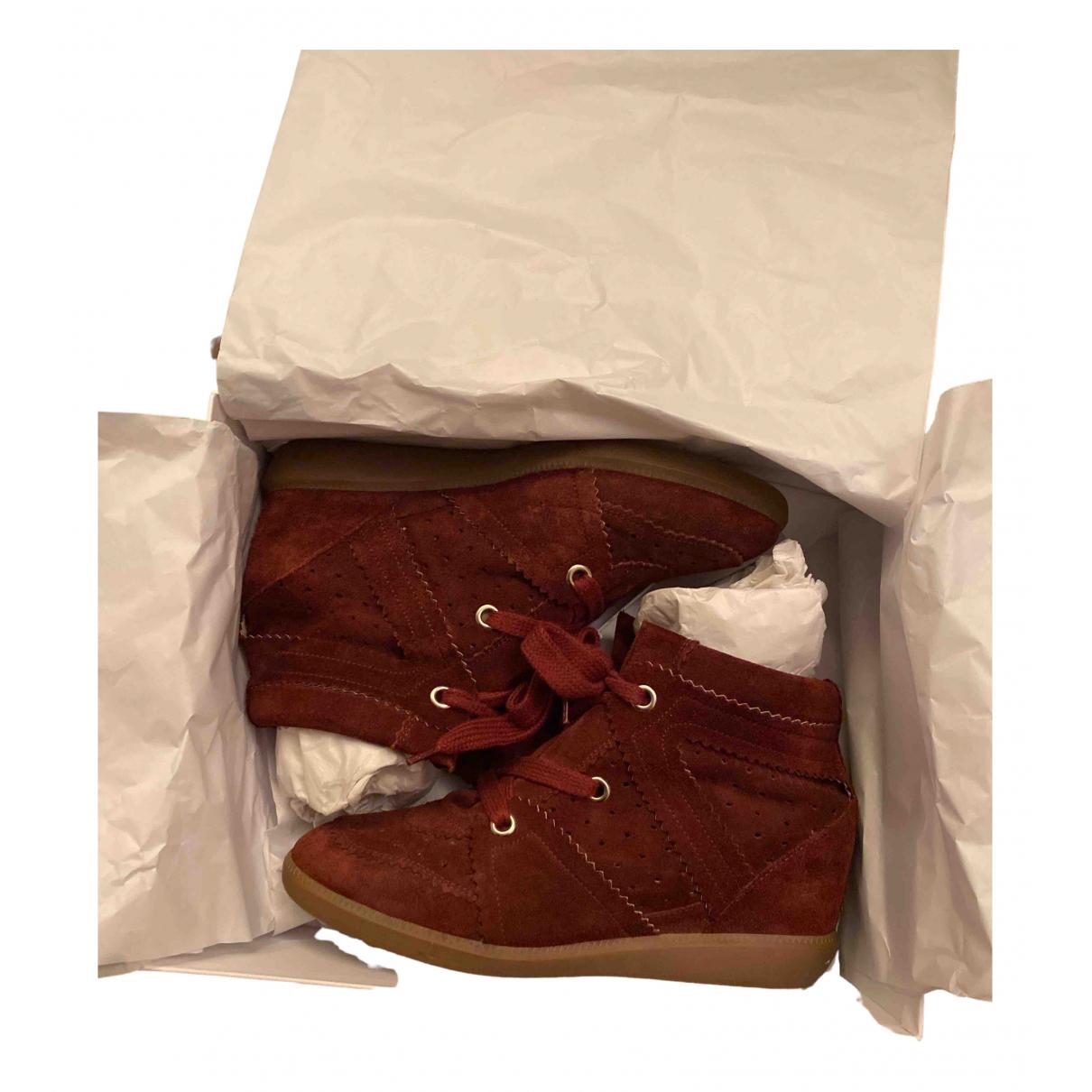 Isabel Marant Bobby Sneakers in  Bordeauxrot Leder