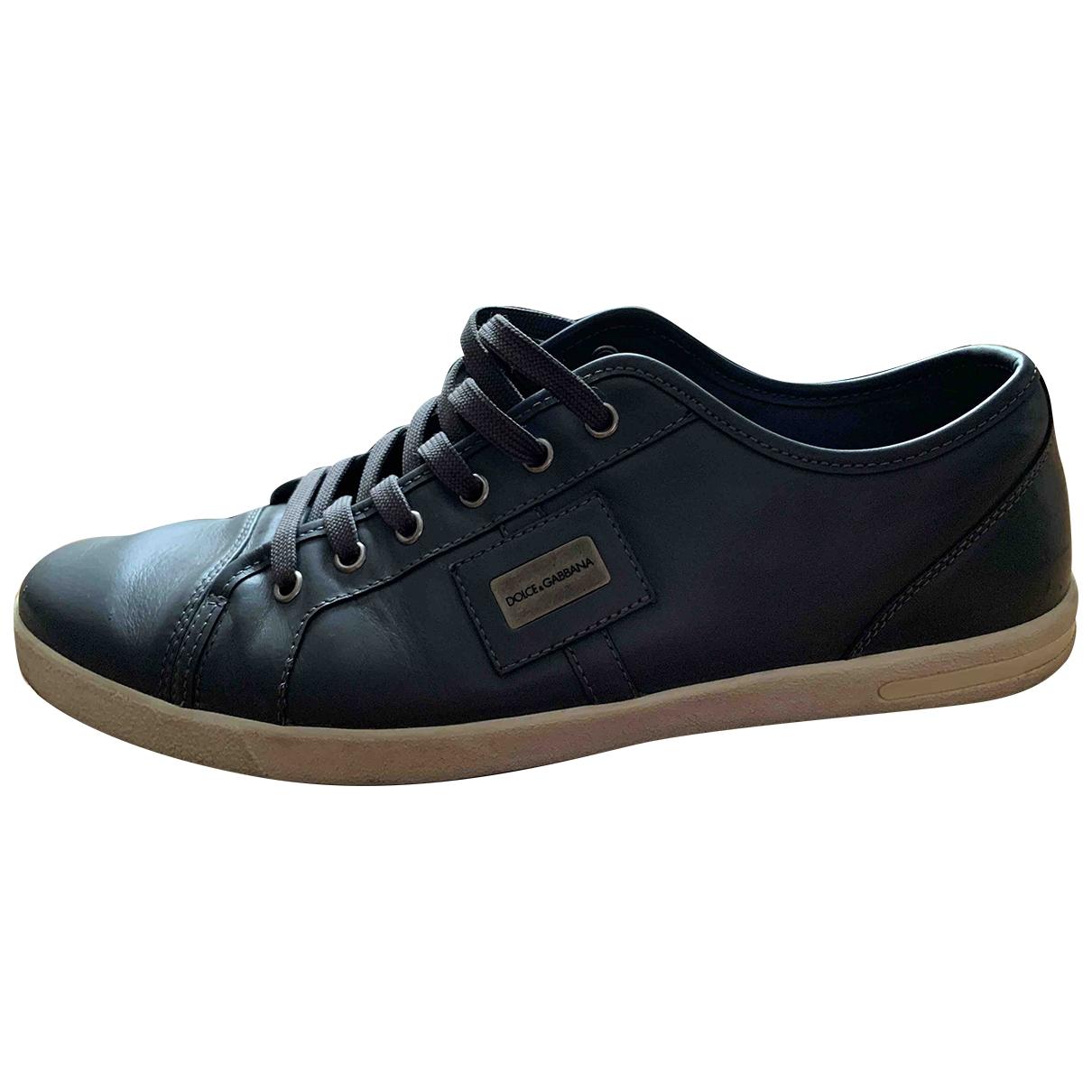 Dolce & Gabbana - Baskets   pour homme en cuir - gris