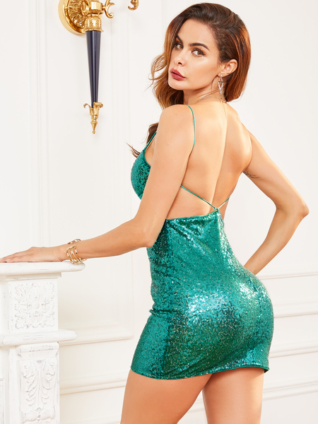 YOINS Green Sequins Backless Design V-neck Sleeveless Dress