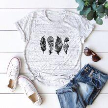 T-Shirt mit Space Dye und Feder Muster