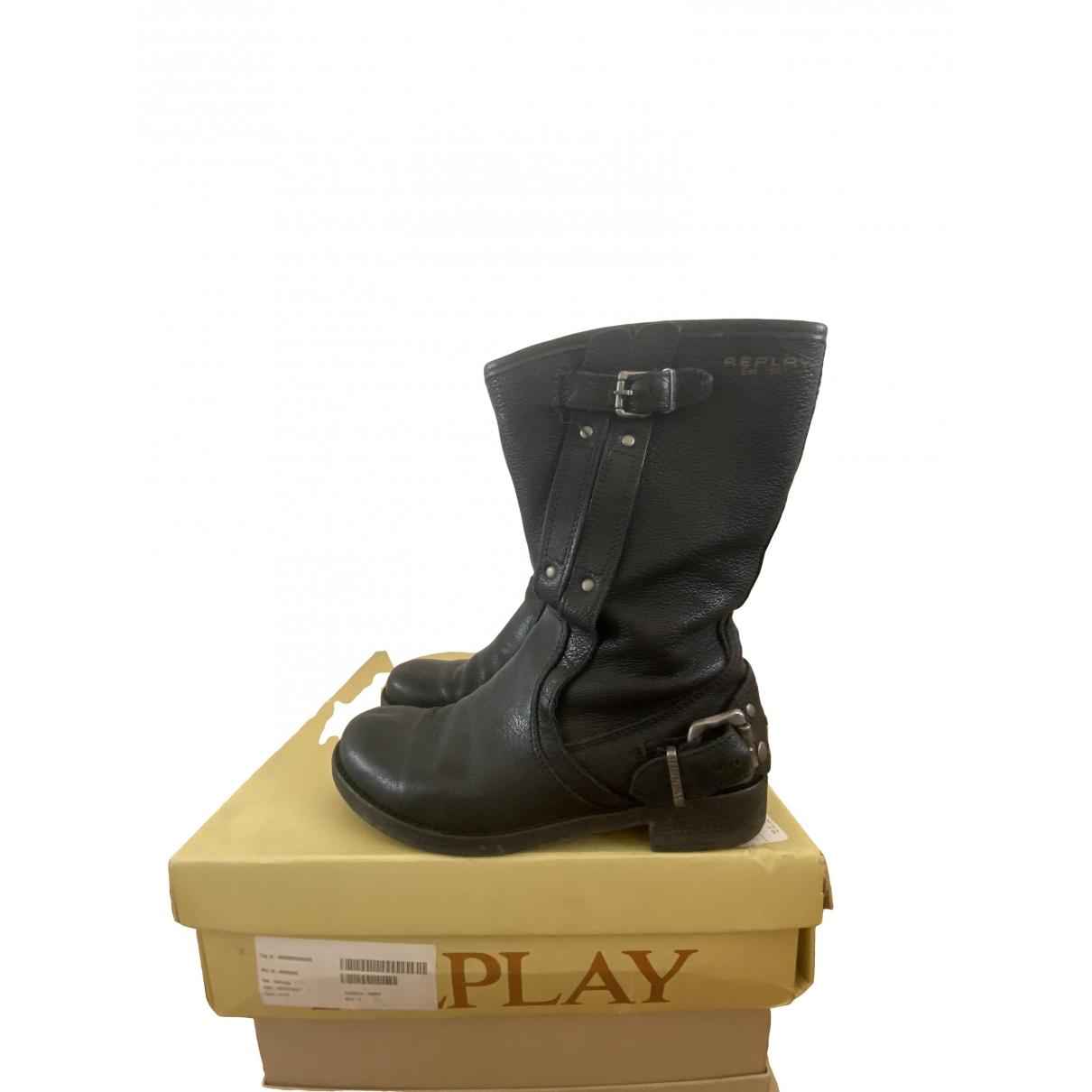 Replay \N Stiefel in  Schwarz Leder
