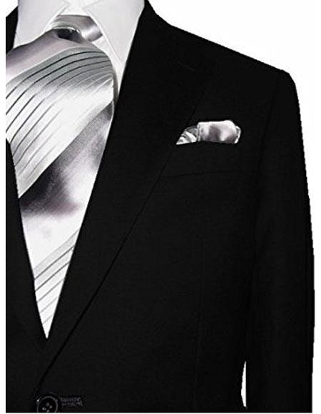 Men's 2 Button Modern Fit Solid Black 1 Wool Dual Side Vents Suit