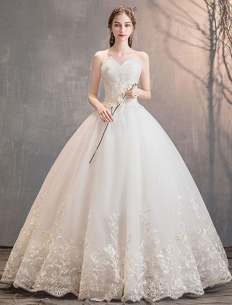 Milanoo Princess Wedding Dresses Tulle Strapless Sweetheart Neckline Floor Length Ball Gown Bridal Dress