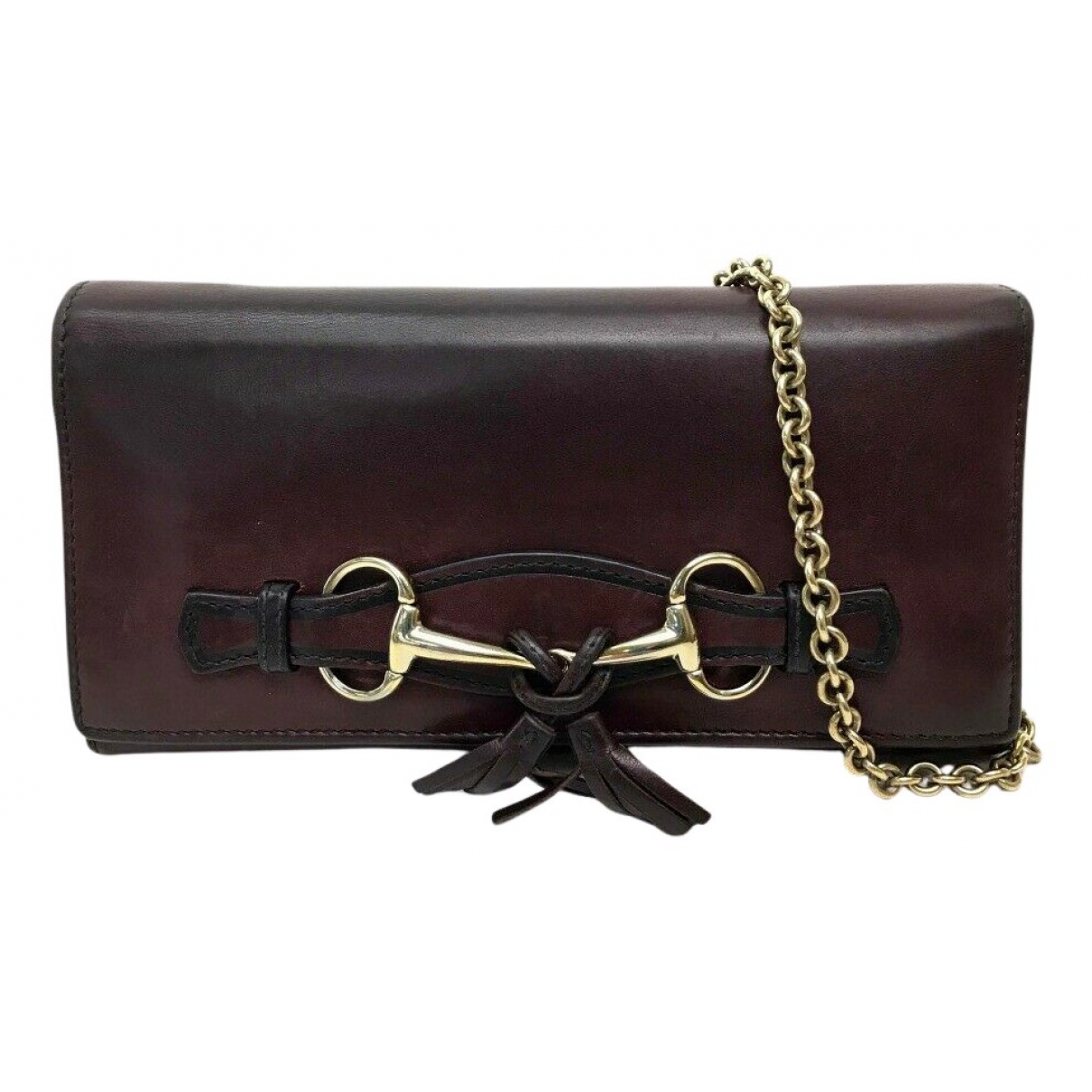 Gucci \N Clutch in  Bordeauxrot Leder