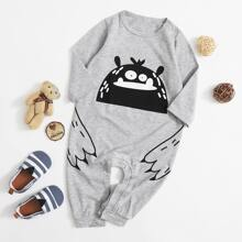 Baby Boy Cartoon Print Tee Jumpsuit