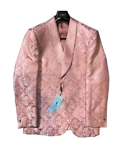 Mens Blazer Peak Lapel Single Breasted Suit
