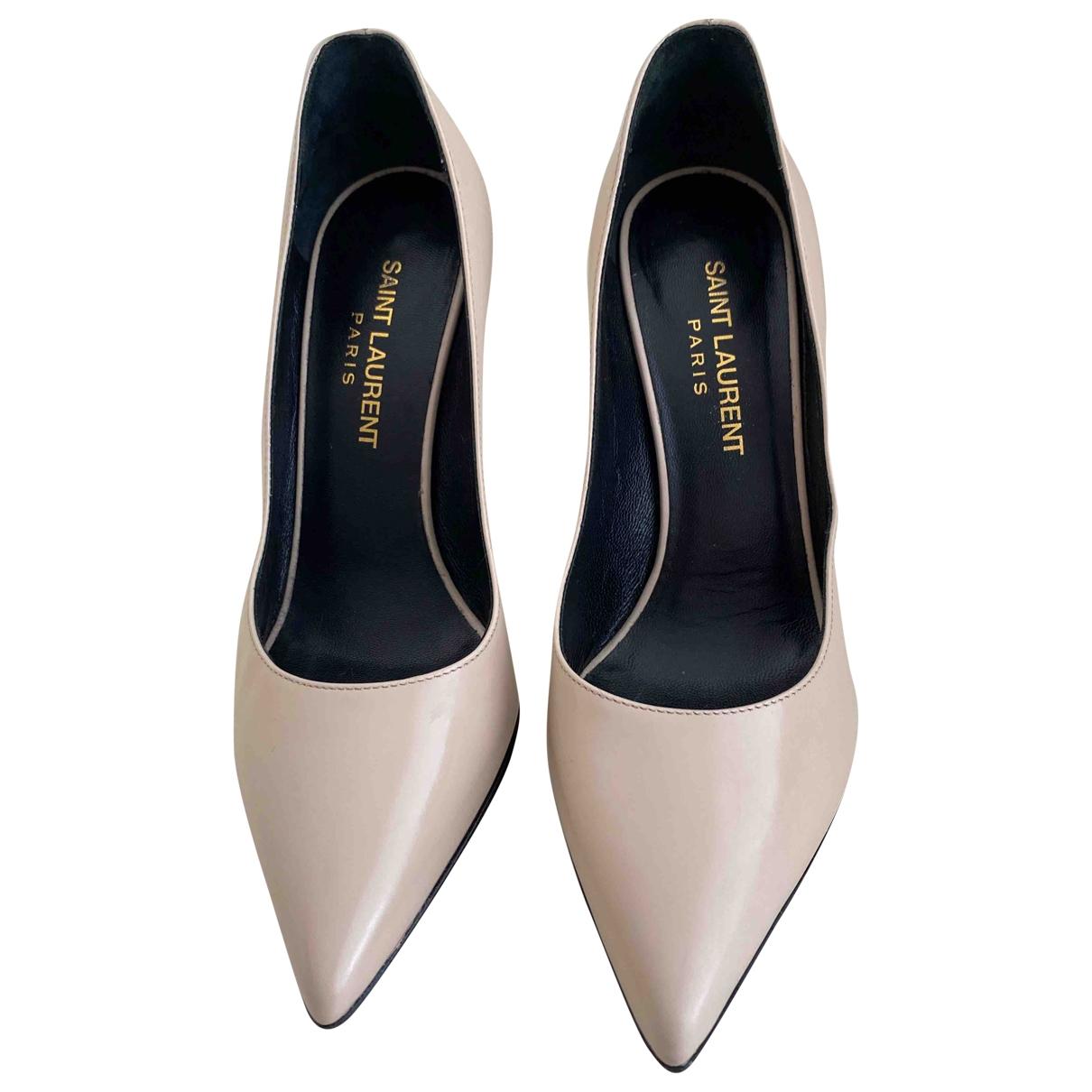 Saint Laurent Janis Beige Leather Heels for Women 35 EU