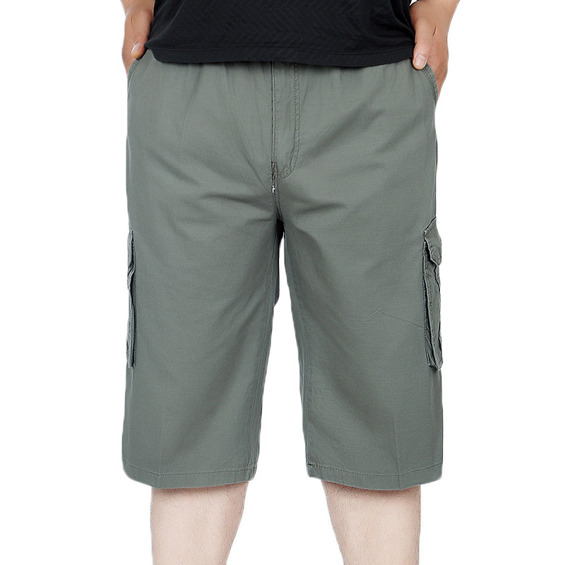 Mens Multi-pocket Solid ColorElastic Waist Loose Fit Calf-length Casual Cotton Cargo Shorts