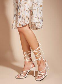 Strappy Tie Leg Stiletto Heeled Sandals