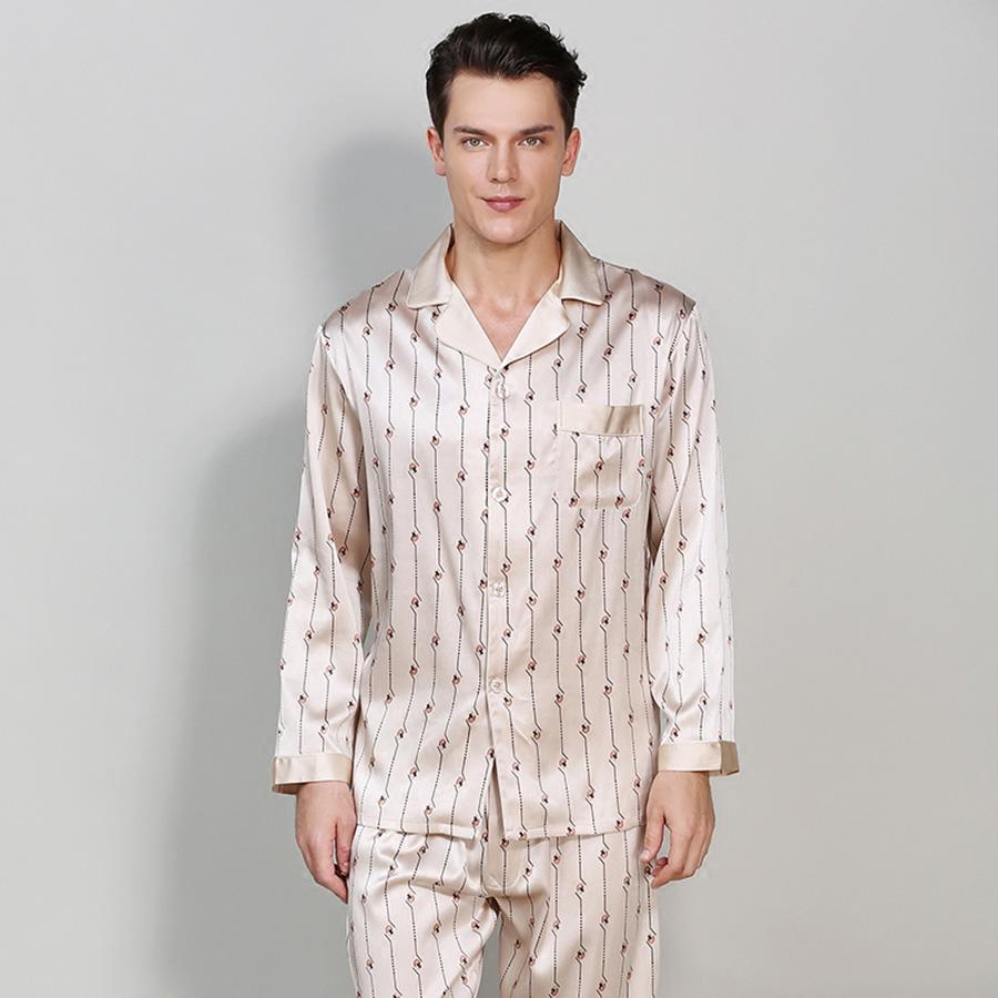 Silk Material Stripe Pattern High Quality Male Bathrobe