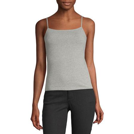 Arizona Womens Square Neck Semi-Cropped Camisole - Juniors, X-large , Gray