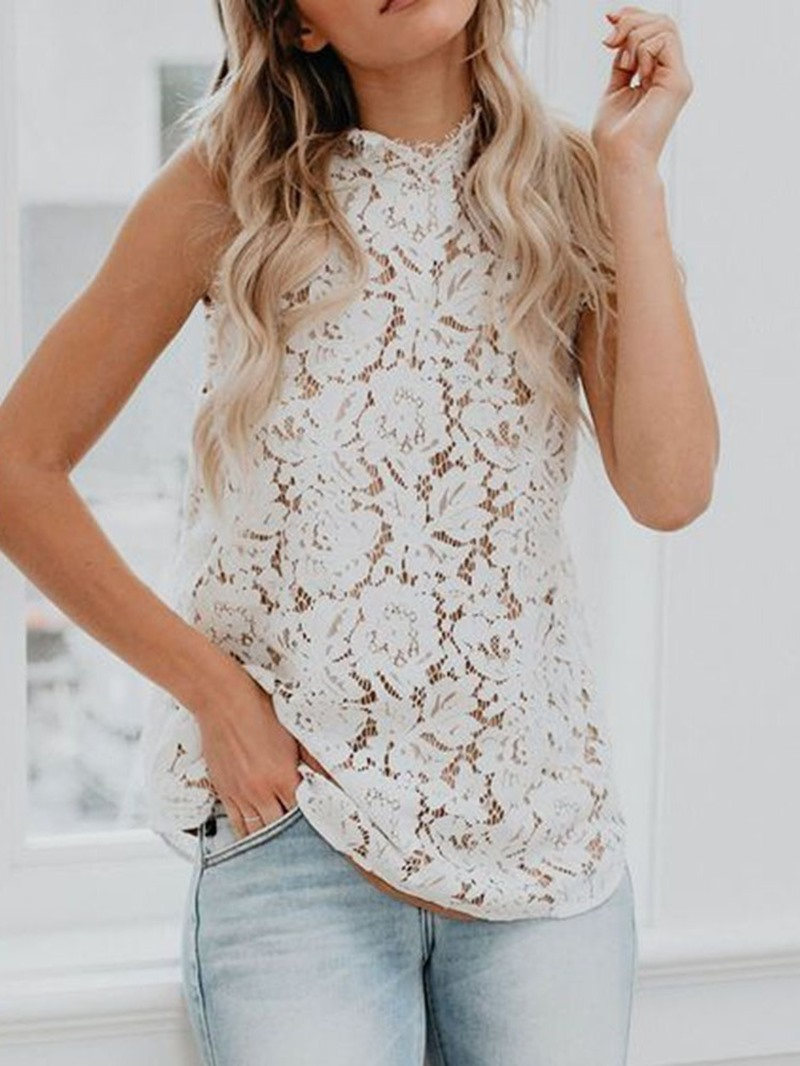 Ericdress Lace Hollow Mid-Length Tank Top