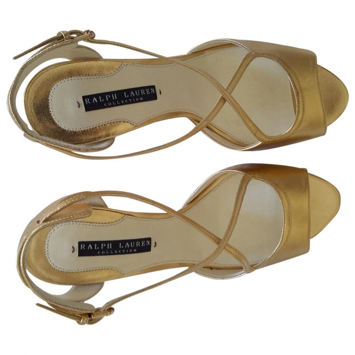 Ralph Lauren \N Gold Leather Sandals for Women 38 EU