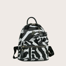 Zebra Striped Pocket Front Backpack