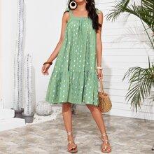 Cami Kleid mit Punkten Muster, Band auf Schulter und Raffungsaum